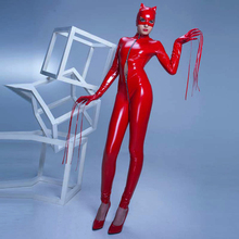 Buy Sexy Leather Cat woman Jumpsuit Costume zipper Vinyl PVC Leotard Latex Catsuit zipper Crotch Nightclub wear mask hat gloves