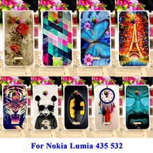 DIY Flexible Soft TPU Silicon Cell Phone Cases For Microsoft Nokia Lumia 435 N435 Covers 532 N532 Housing Bags Skin Shell Hood