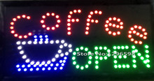 2017 Hot sale led coffee open sign lights size 10*19 inch semi-outdoor advertising led display