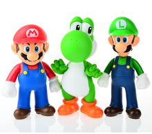 3pcs, BOHS Super Mario Bros Mario Yoshi Luigi PVC Action Figure Collection Model Toys Dolls(China)