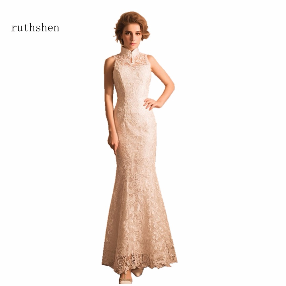 ruthshen Long Mermaid Evening Dresses High Neck Lace Evening Party Gown For Women Formal Special Vestidos Largos De Noche 2018(China)