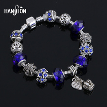 Hansion Hot Charms Bracelets Women Silver Plated Snake Chain Crown Pendant Crystal Ball Friendship Fit Bracelet(China)