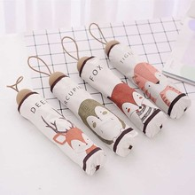 Cute Animal Pattern Umbrella Three Folding Rain Umbrella Women Sunscreen Anti UV Umbrellas Lovely Tiger Fox Deer