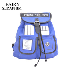 FAIRY SERAPHIM Doctor Who Backpack Canvas Printed Cartoon Dr Who Tardis Children School bag mochila String Backpacks