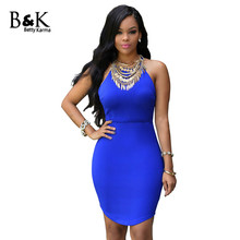Buy Summer Dress Womens Halter Cotton Knee Length Sexy Dresses Red Blue Slim Pencil Bodycon Party Dress Elastic Solid Sexy Dress for $11.49 in AliExpress store