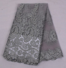 Latest Style Beaded Lace Fabric 2016 Fashion African Lace Fabric Tulle African French Lace Fabric High Quality AMY1315C-4