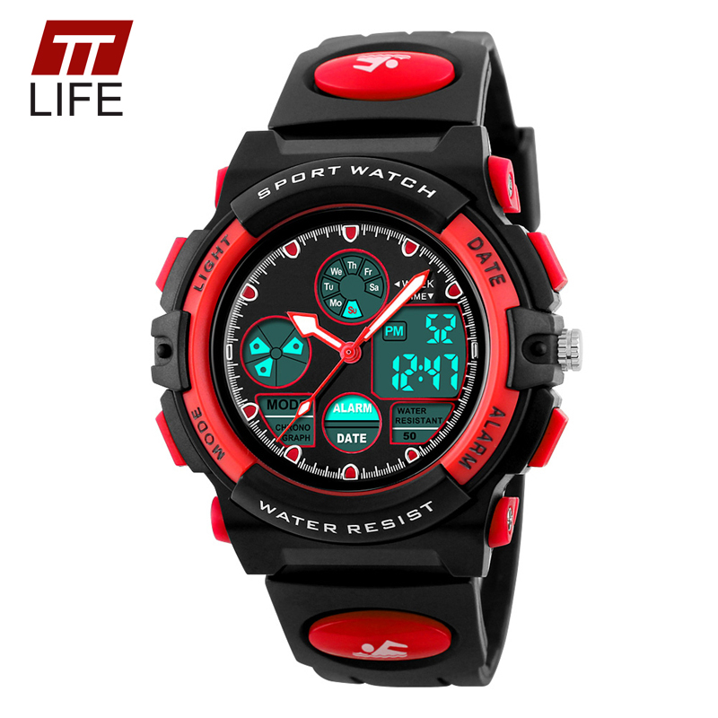 TTLIFE Childrens Watches Fashion Sport Military Waterproof Wristwatches Dual Time LED Digital Quartz Watch For Boys Girls Kids<br><br>Aliexpress