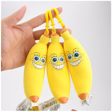 Sponge Bob Baby Toy Cute Spongebob Banana Peluche Pendants Dolls Soft Anime Cartoon Key Bag Pendant 15cm 10pcs/lot(China)