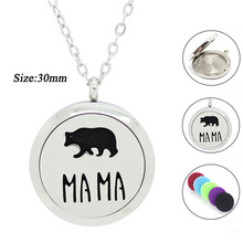 316L Stainless Steel Silver new MAMA Bear design perfume locket 30mm Aromatherapy locket pendant magnetic Oil Diffuser necklace