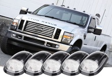 5pc White Smoked Lens Truck Cab Roof Lamps Amber LED cover Lights For Dodge Ford GMC Chevy