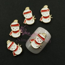 20pcs/lot 13x10MM Cute Snowman Metal Gold Plated Alloy Charms Phone Laptop Cover Case Crafts Nail Art Xmas 3D DIY Decorations