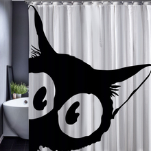 Black Cat Totoro Chinchilla Customized Cartoon Shower Curtain Bathroom Decor Accessories Waterproof Polyester Fabric