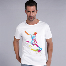 Men's Casual Art Style Cute Watercolor Get Shot Goal Print T-Shirt Men Summer Modal Hipster Tees