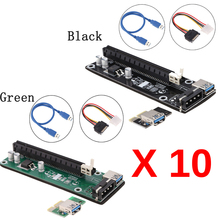 10pcs For bitcoin Mining USB 3.0 PCI-E Riser PCI Express 1x to 16x Extender Board Card with SATA Adapter Power Cable & USB Cable