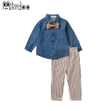 Kids boy clothes casual gentleman suit long sleeve denim bow shirt striped skinny pants fashion wearing children clothing set(China)