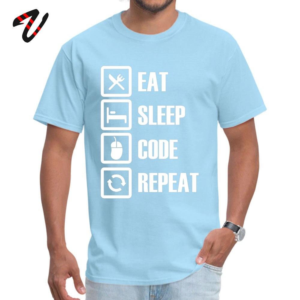 Slim Fit Eat Sleep Code Repeat Round Collar T Shirt Summer/Autumn T Shirt Short Sleeve for Men Brand New Pure Cotton T-shirts Eat Sleep Code Repeat 6179 light