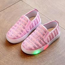 5 color Children shoes with light children glowing sneakers led kids Lighted Shoes toddler Boy LED Flashing girls shoes sequins(China)
