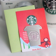 Creative Coffee Cup Theme Stainless Steel Bookmark 5.4*4.3cm Cool Fashion Stationery Gift School Office Supplies(China)