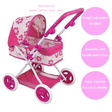 simulation Pram Pushchair baby toy Large Simulation Play Toy Girl Kids Children Pretend Play Furniture Toys Baby Doll Stroller(China)