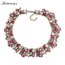 Miwens 2016 New Za Collar 10 Colors Crystal Vintage Gold Chunky Statement Necklace Luxury Maxi Choker Necklaces Jewelry 6831(China)