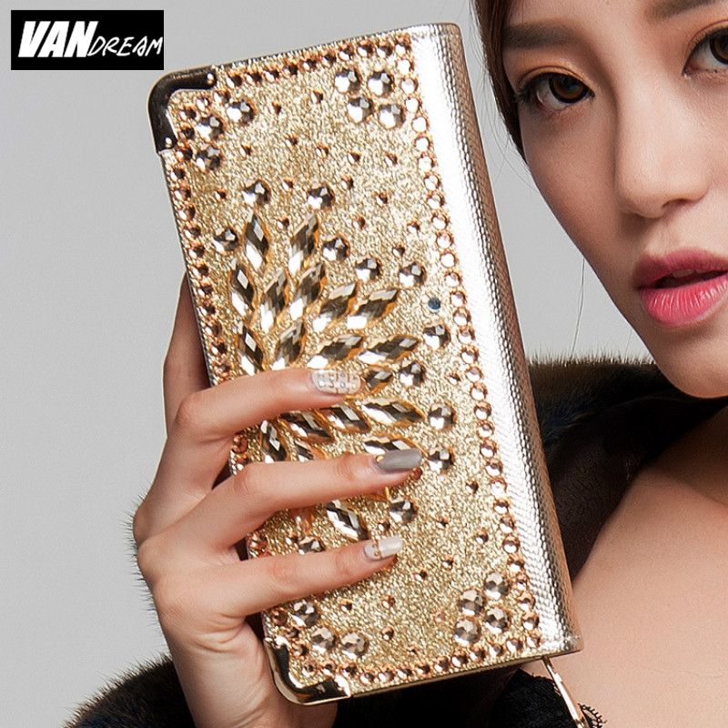2016 Fashion Women Wallets wristlet handbag solid PU Leather Diamond Long bag black gold clutch Lady brand phone card coin Purse<br><br>Aliexpress