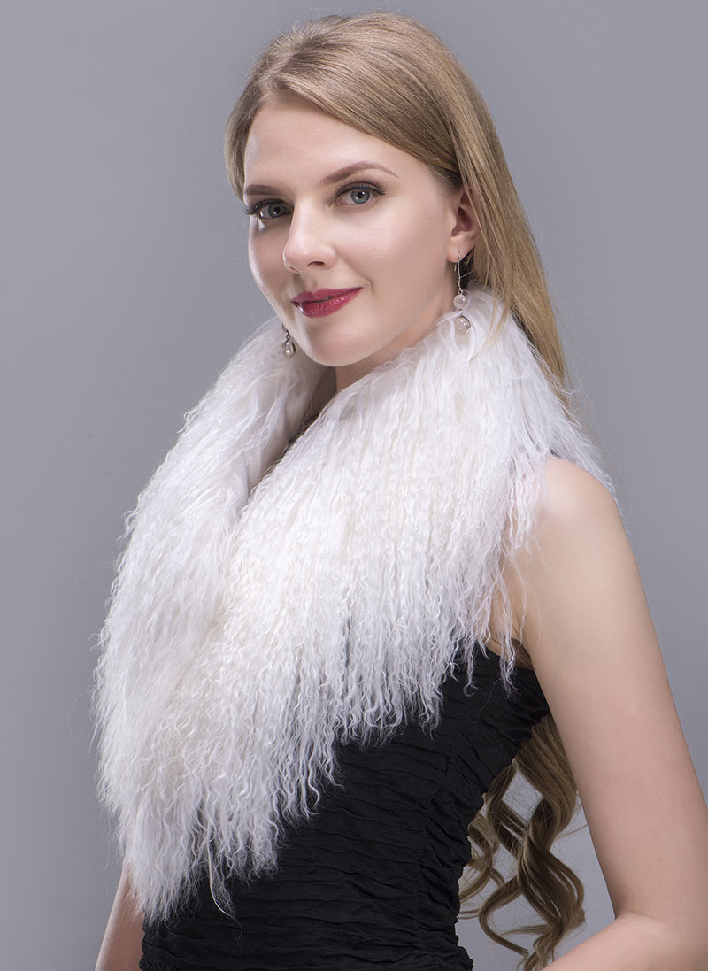 tibet lamb fur scarf white 3 1