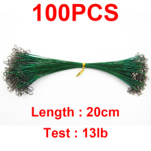 100pcs 20cm Nylon Coated Fishing Wire Leader Stainless Steel Braided Trace Spinning Leader Rigs Steel Wire Line With Snap Swivel