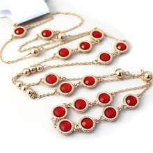 2017 free shipping fashion women New Jewelry wholesale Round edged lace red black long necklace sweater chain
