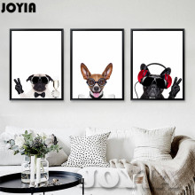 Triptych Canvas Art Pet Dogs Prints Animated Wall Pictures Painting Home Decor Living Room For Nursery Baby Kids Room (No Frame)