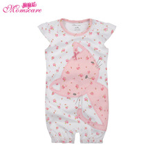 Mom's care Baby Romper Girls Jumpsuit Cartoon Cat Flower Print Infant Toddler Pajamas Sleepwear Kids Clothes Wear for Summer(China)