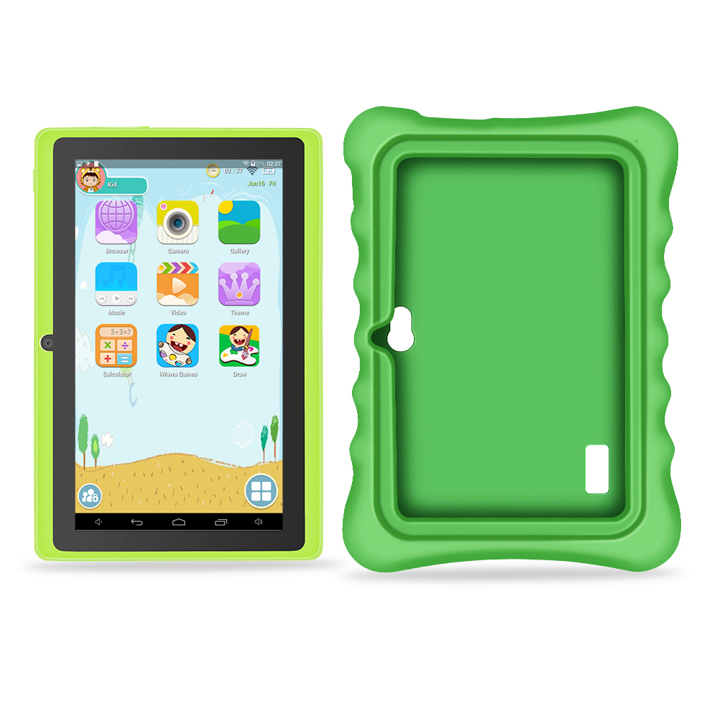 Yuntab 7 inch touch screen Tablet PC load Iwawa kid software and Educational Game Apps for children with chic stand case