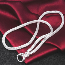 Punk simple jewelry 925 silver large width chain net knitting necklace male and female general X16