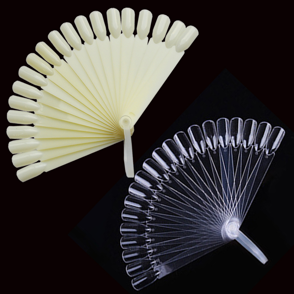 24pcs/set Plastic False Nail Art Tips Stick Polish Display Practice Fan Board tool Natural/Transparent Color BENAO12(China (Mainland))