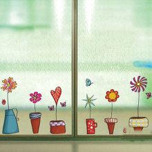 Cute Flower Wall Sticker Kitchen Window Glass Sticker Butterfies Wall Stickers Bathroom Glass Vinyl Wall Decal Kids Rooms Decor