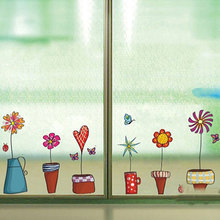 Cute Flower Wall Sticker Kitchen Window Sticker Butterfies Wall Stickers Home Decor Bathroom Vinyl Wall Decals Kids Rooms Decor(China)