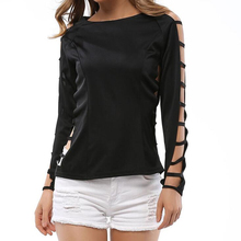Summer Women T Shirt Grid Hole Sleeved Femme Tops O Neck Women Tshirt White Clothes Clubwear Black Shirt Hot Sale Tees 2016 S189(China)