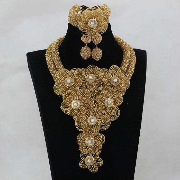 Splendid Gold Nigerian Wedding Beads Jewelry Set Chunky Flowers Bib Statement Necklace Earrings Bracelet Jewellery Set WE106