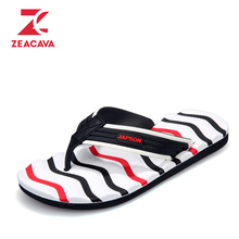 Z 2017 Famous Brand Design Casual Plaid Stripes Unisex Leisure Slippers Summer Fashion Men Outdoor Casual Beach Shoes Flip Flops(China)