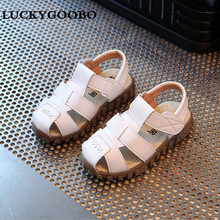 LUCKYGOOBO 2017 Kids Sandals Boys Summer Sandals Casual Soft Leather Breathable Baby boy Prewalker Sandals Children Beach Shoes(China)