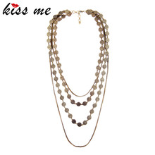 Fashion accessories vintage wafer women's design long necklace Factory Wholesale