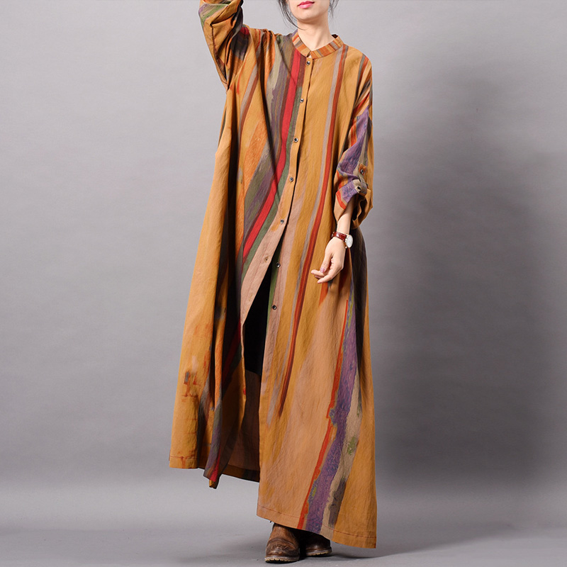 Johnature Button Dress Striped Stand Long Sleeve Women Cloths 2019 Spring High Quality Vintage Soft Silk Shirt Dress For Women