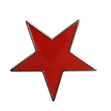 Small red metal star lapel pin badge-Iron plated nickel+Paints+epoxy+butterfly button Free shipping(10 pcs/lot)