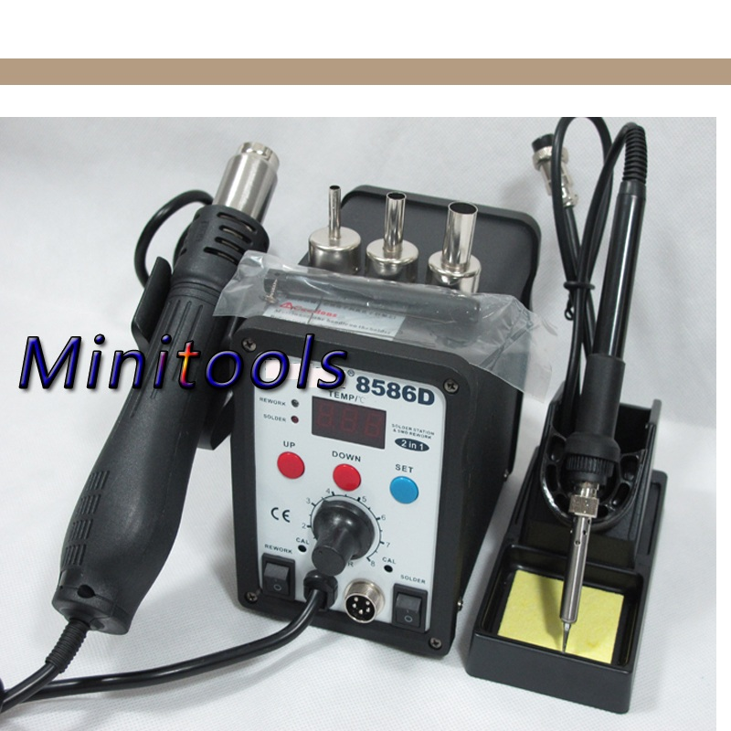 220V OR 110V 2 IN 1 SMD YIHUA 8786D Hot Air Gun Station Soldering With Iron Soldering Station Digital Rework Station<br>