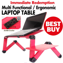 Multi Functional Ergonomic foldable laptop table for bed stand E-Table Portable Laptop stand with 2 USB Cooler and mouse pad(China)