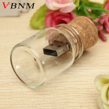 VBNM new arrival messenger bottle usb 2.0 memory stick glass drift bottle usb flash drives wooden cork pendrive 4GB 8GB 16GB