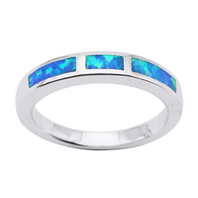 Simple Fashion Blue Opal Silver Plated Ring for Women Semi Precious Opal Stone Wholesale Fine Jewelry OR031(China)