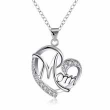 Love Mom Gift Great Mama Pendant Necklace - Silver Plated Jewelry Christmas Gift For Mother MUM Letters Heart Pendant Wholesale(China)