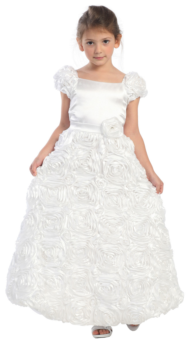 Free shipping High Quality Flower Girl Dresses Weddings Elegant Floor Length Cap Sleeves Rosette Organza First Communion Dresses<br><br>Aliexpress