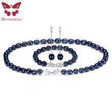 Natural Black Pearl Jewelry Sets For Women,Fashion Jewelry Dangle Earrings&Bracelet&Necklace,Rice Shape 8-9mm Pearl Star Zircon(China)