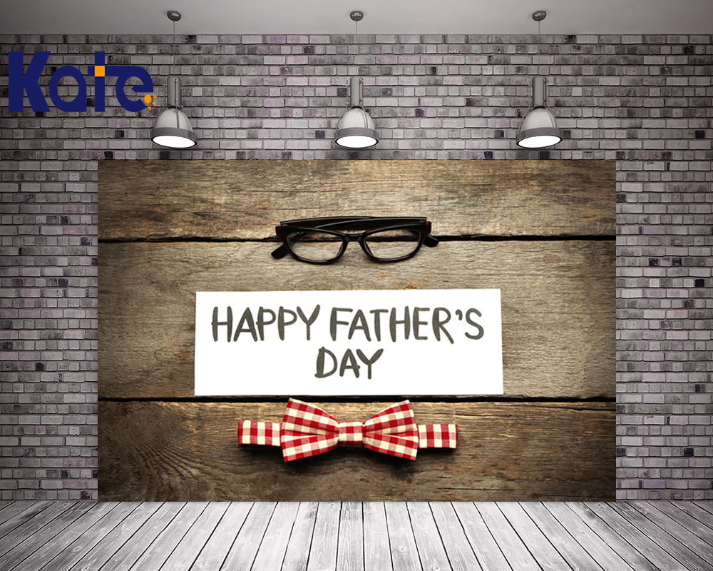 Kate Happy Fathers Day Wood Wall Backdrop Retro Wood Photography Backdrop Glasses Cool Washable Custom Size Photo Background<br>